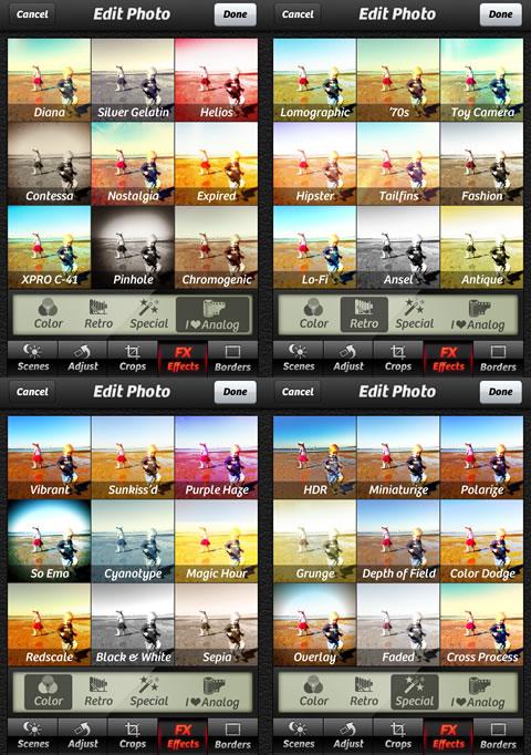 Camera+ filters