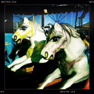 Carousel horses, Barry Island, Wales