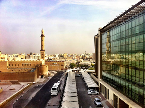 View out of my hotel window looking towards the Grand Mosque, Dubai