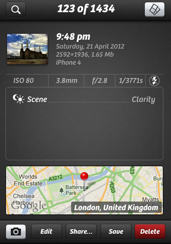 Tap on info shows this rather nice screen of info (funnily enough)