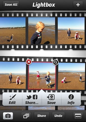Captured images appear in Lightbox - a scrollable filmstrip